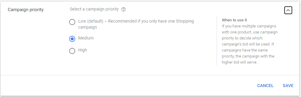 google shopping set priority branded