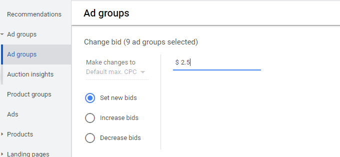google shopping set bids branded