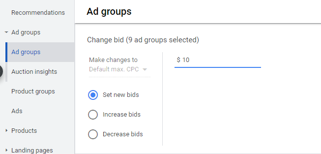 google shopping set bids high intent
